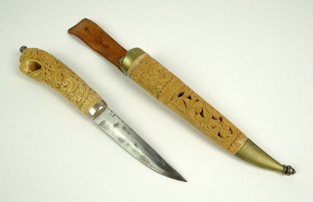 Vintage Norwegian Custom Made Carved Wooden Knife and M