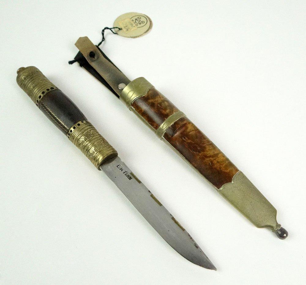 Vintage EK Tinn Norway Custom Made Knife and Fitted She