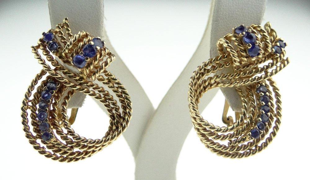 Modern Sapphire and 14 Karat Yellow Gold Swirl Clipback