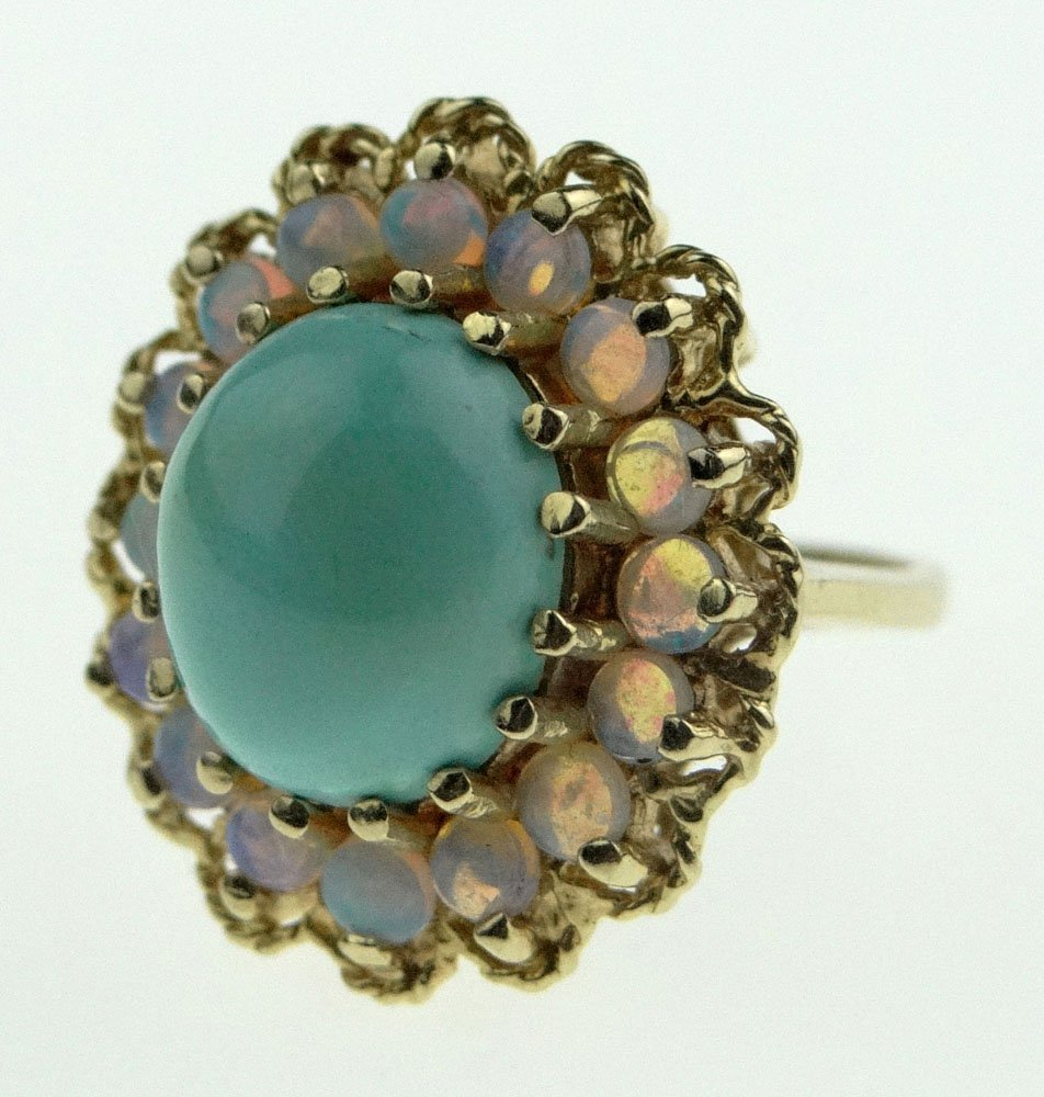 Modern Cabochon Cut Turquoise and Opal Lady's Ring Set