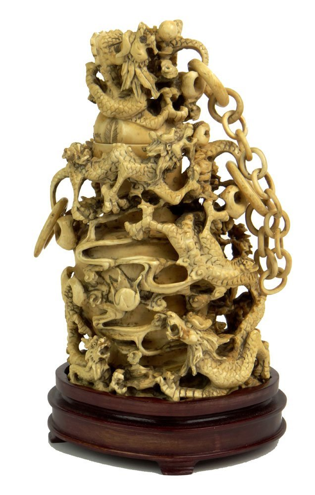 18/19th Century Unusual Heavily Carved Ivory Dragon Cha