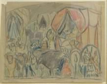 Rafael Barradas, Uruguayan (1890-1929) Mixed Media on P