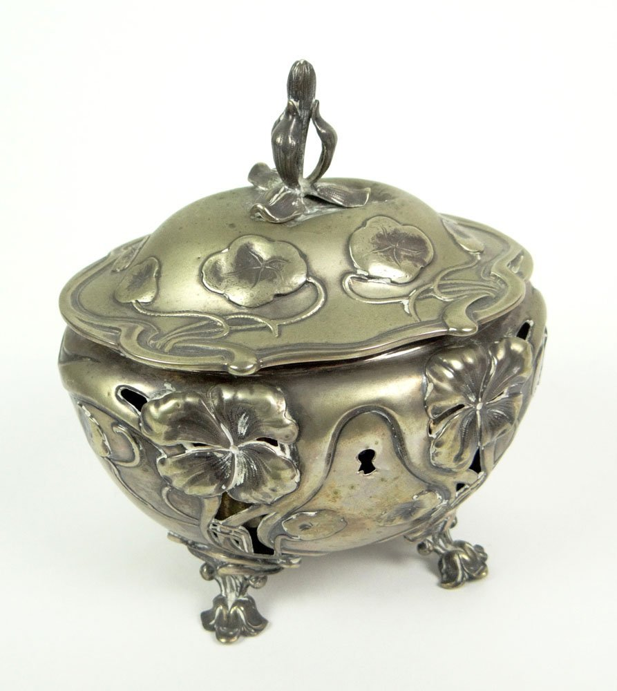 Art Nouveau Silver Plate Footed Vanity Box with Liner a