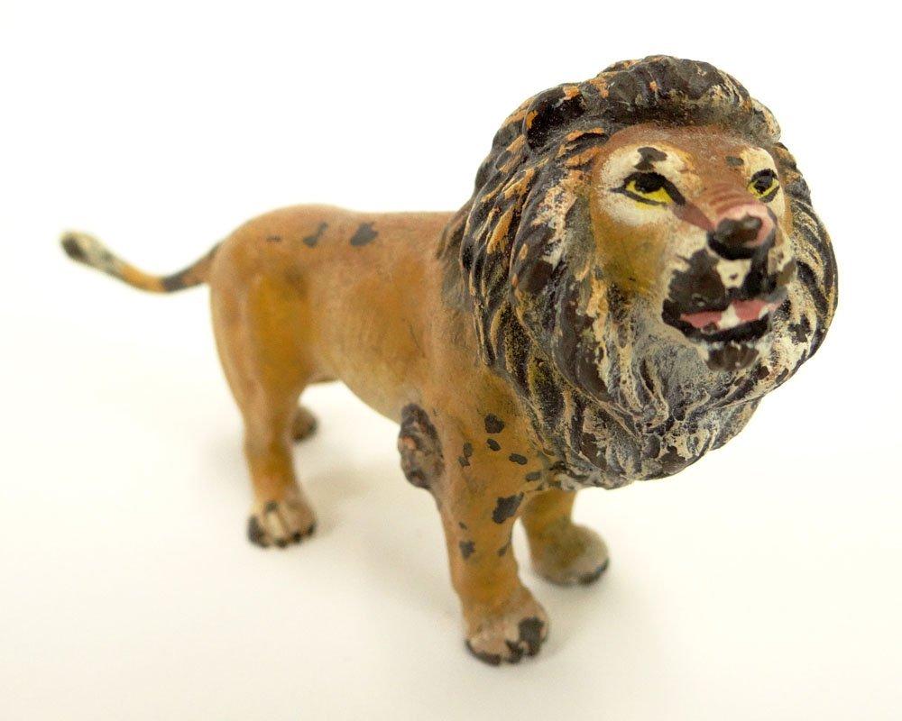 Vintage Vienna Cold Painted Bronze Lion. Unsigned. Pain