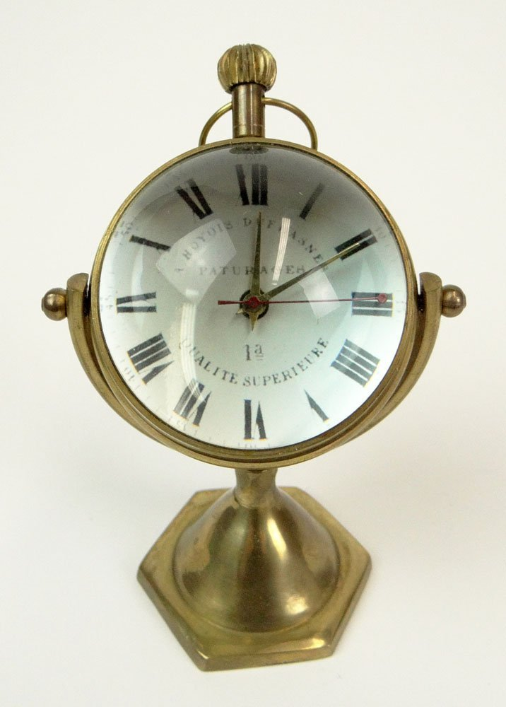 Probably French Vintage Brass Magnifier Desk Clock with