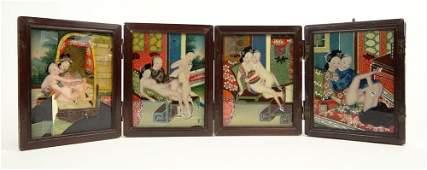 Erotic 1920th Century Asian Wooden Dresser Top Makeup