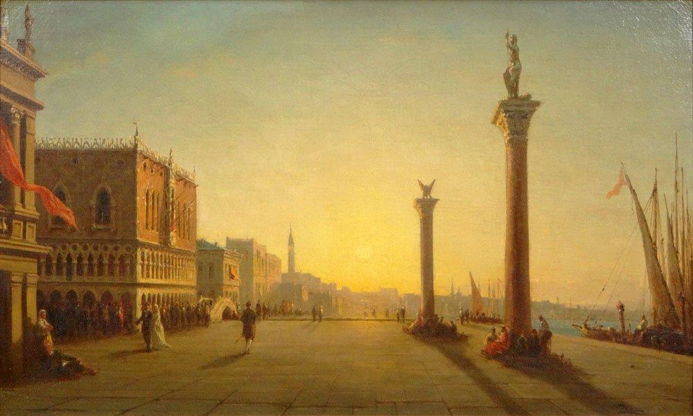 "Félix Ziem, French (1821-1911) Oil on Canvas ""St. Mark'"