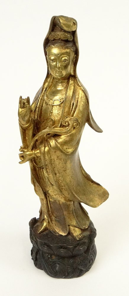 19/20th Century Chinese Bronze and Gilt Bronze Figure