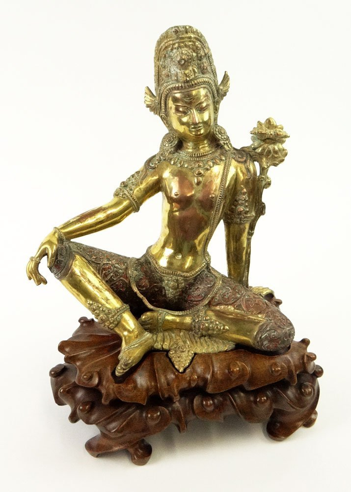 19th Century Sino-Tibetan Heavy Gilt Bronze Seated