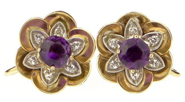 Pair of Diamond, Amethyst, Platinum and 14 Karat Yellow