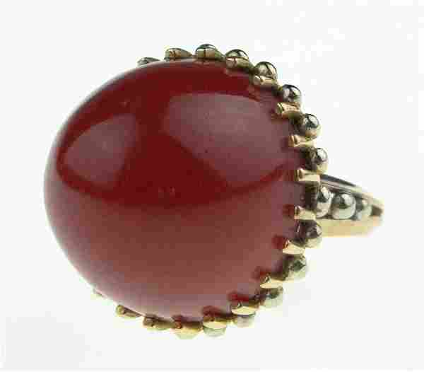 Lady's Antique Large Red Coral and 18 Karat Yellow Gold