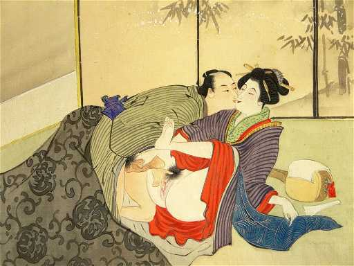 Erotic 19 20th Century Japanese Shunga Mixed Media On