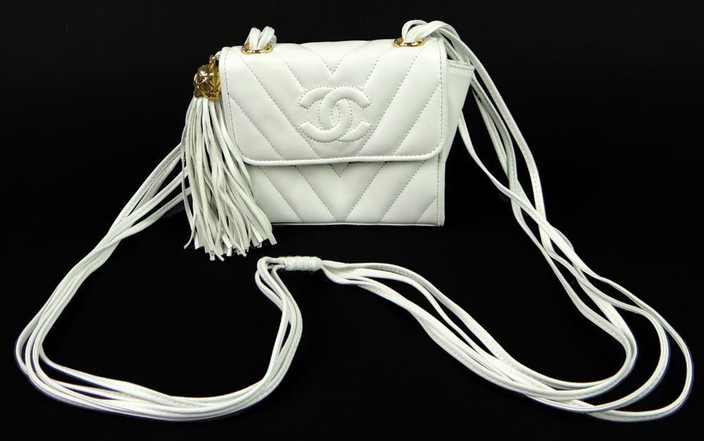 Almost New Vintage White Leather Quilted Chanel Hand