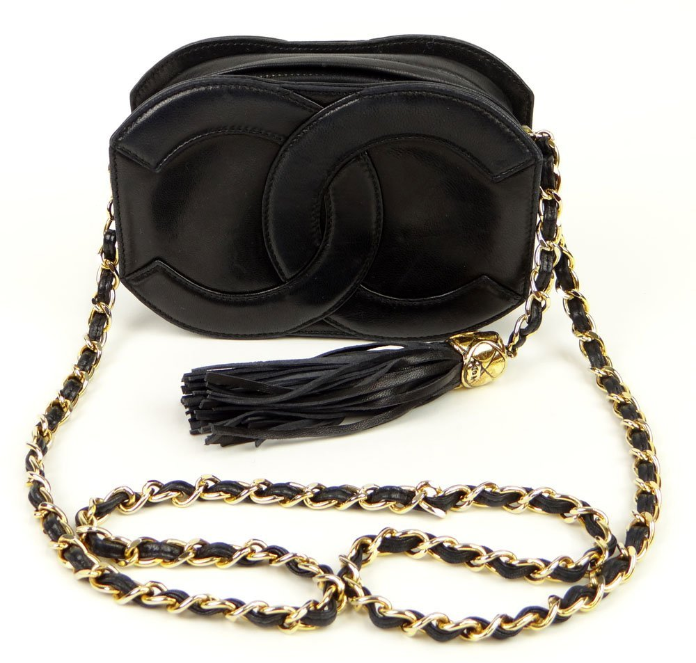 Almost New Vintage Black Leather Chanel Hand Bag/Clutch