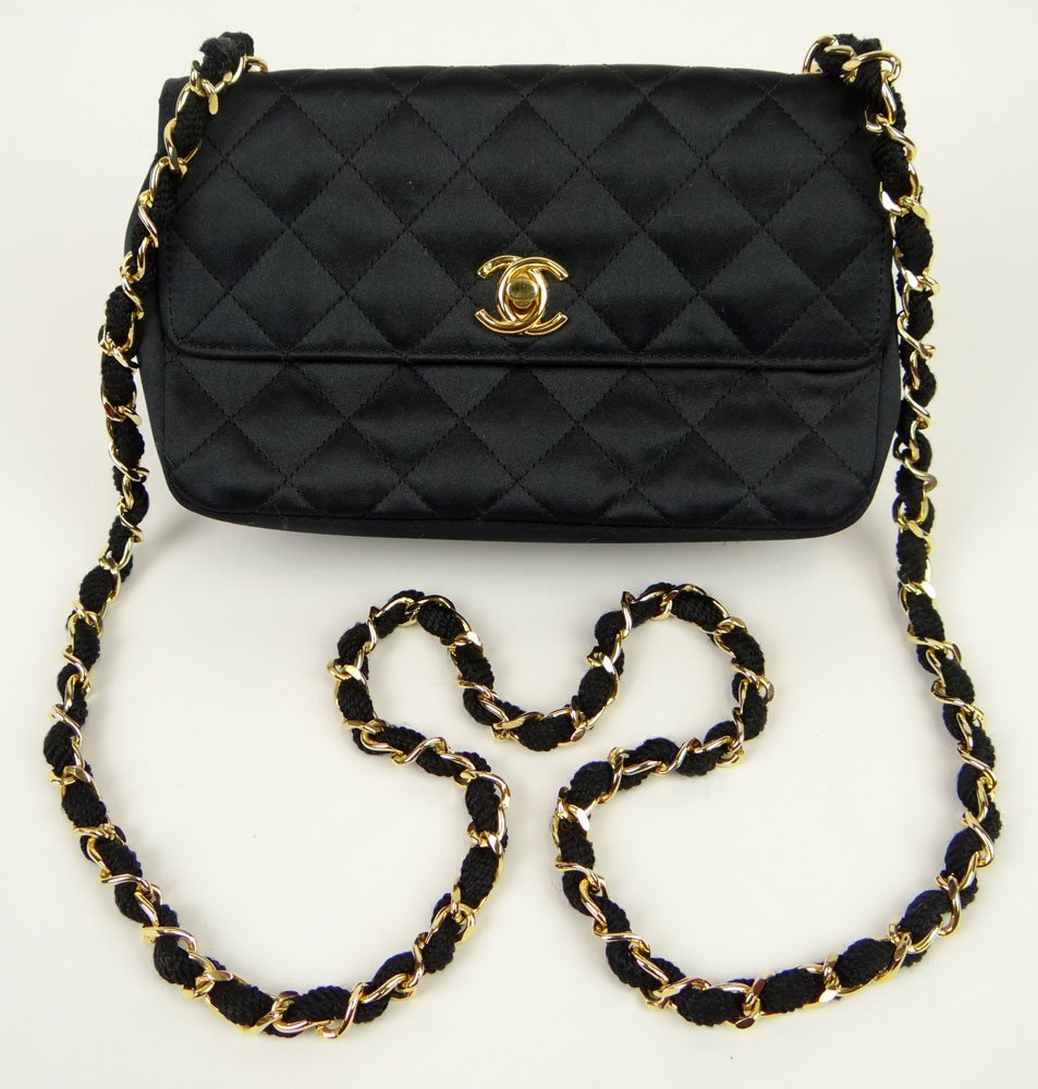 Almost New Vintage Black Chanel Quilted Hand Bag with