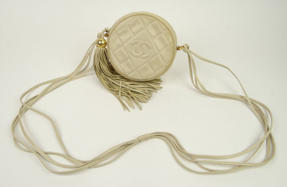 Almost New Vintage Beige Quilted Leather Chanel