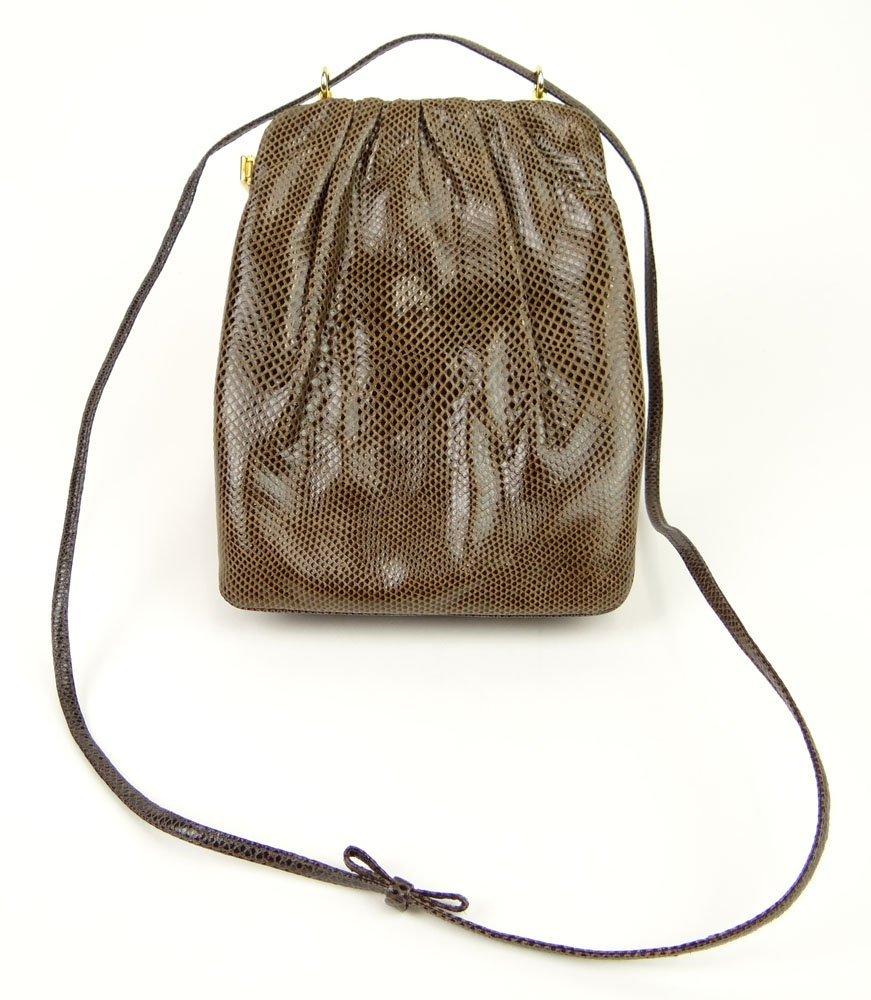 Judith Leiber Unusual Snake Skin and Suede Handbag Bag.