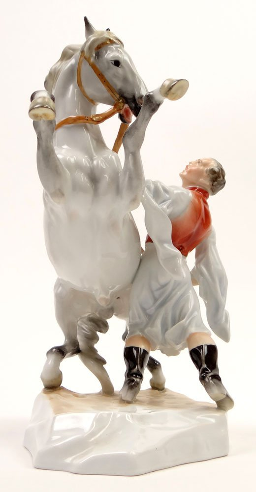 """Hungarian Herend Porcelain Figure Group """"Man with"""