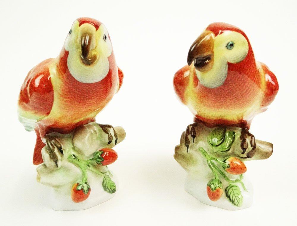 Two (2) Vintage Hungarian Herend Porcelain Parrots.