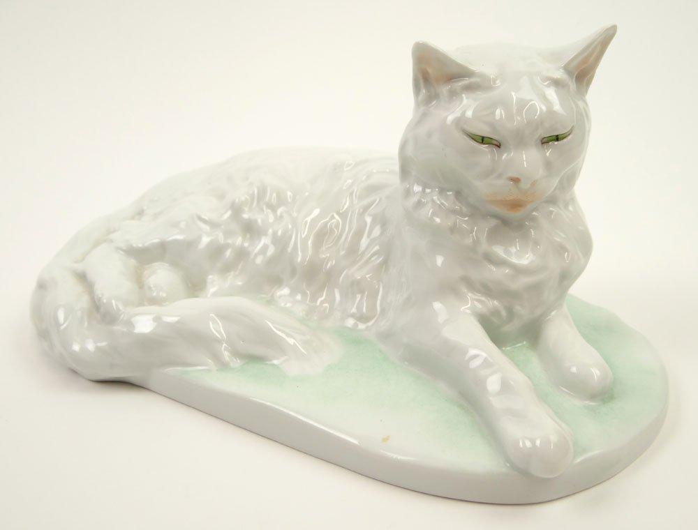 Vintage Hungarian Herend Porcelain White Cat. Blue