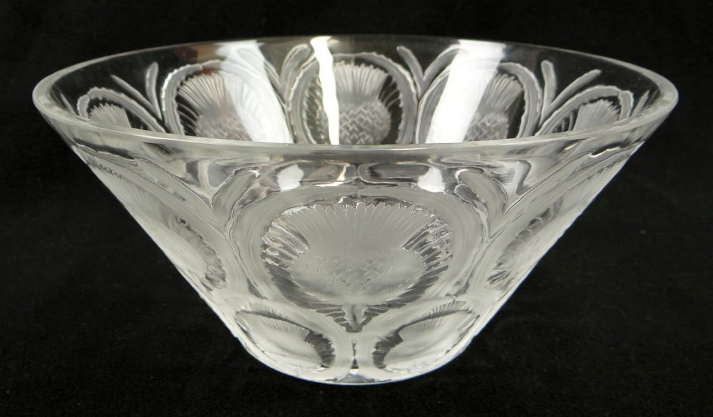Lalique France Frosted and Clear Crystal Thistle Bowl.