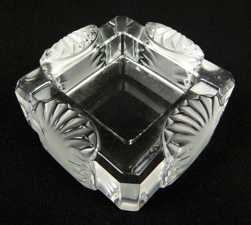 Lalique France Frosted and Clear Cut Crystal Ashtray.