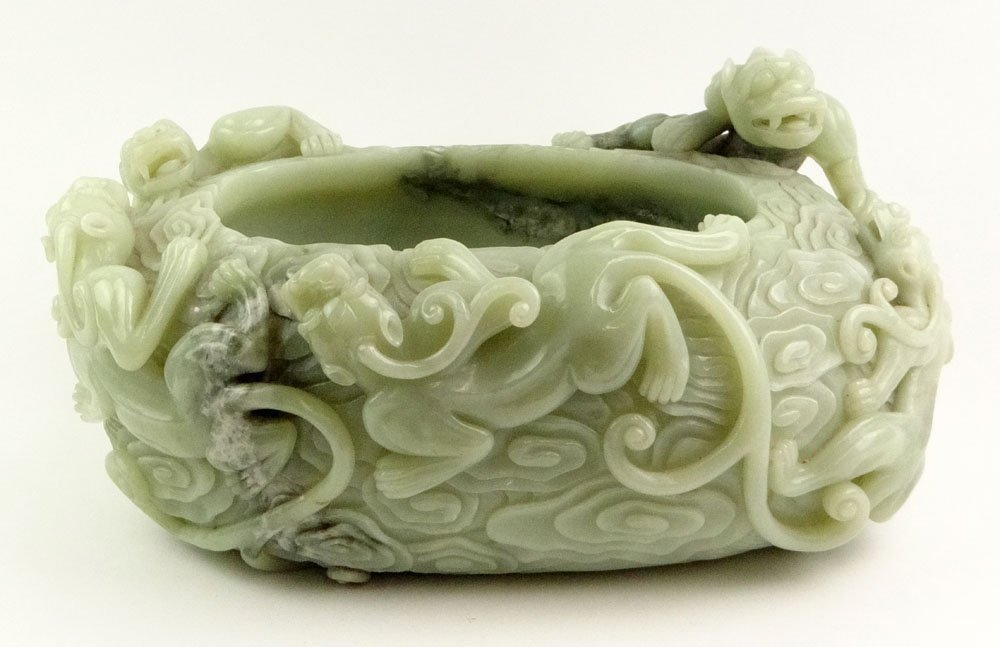 Very Large and Heavy Chinese Deep Relief Carved Celadon