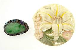 Vintage Chinese Silver Mounted Carved Green Jade and