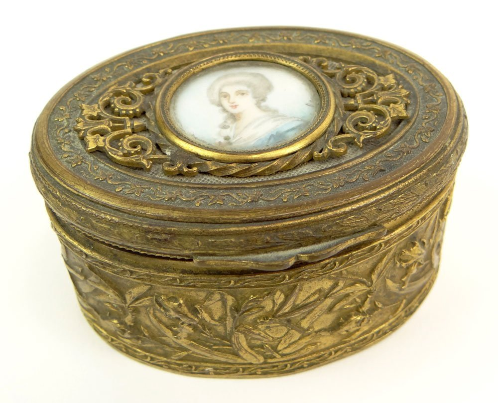 19th Century Art Nouveau French Bronze Box with Hand