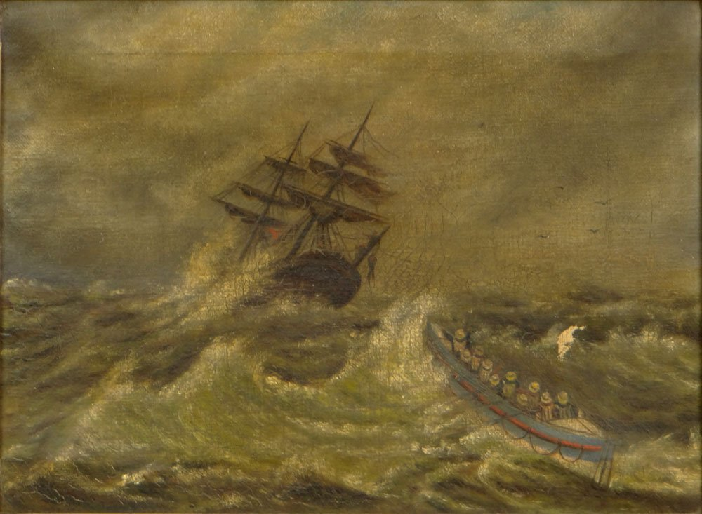 "19th Century Possibly British Oil on Canvas ""Sailors"