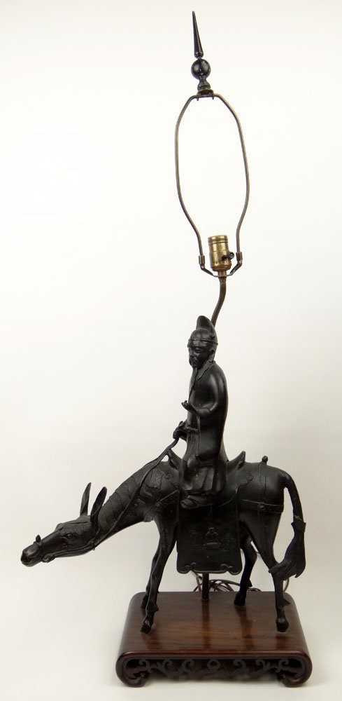 """Early 20th Century Chinese Bronze """"Scholar Riding a"""