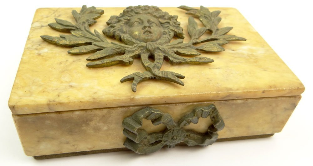 Early 20th Century Alabaster Covered Box with Added
