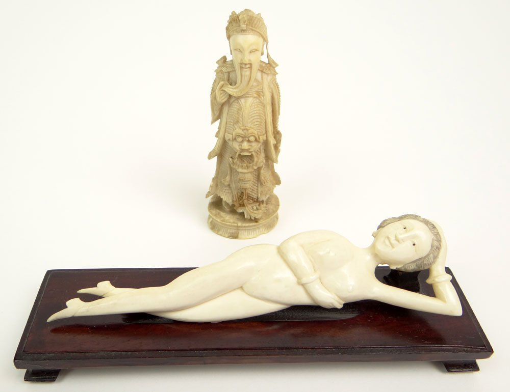 20th Century Chinese Miniature Carved Ivory Emperor and