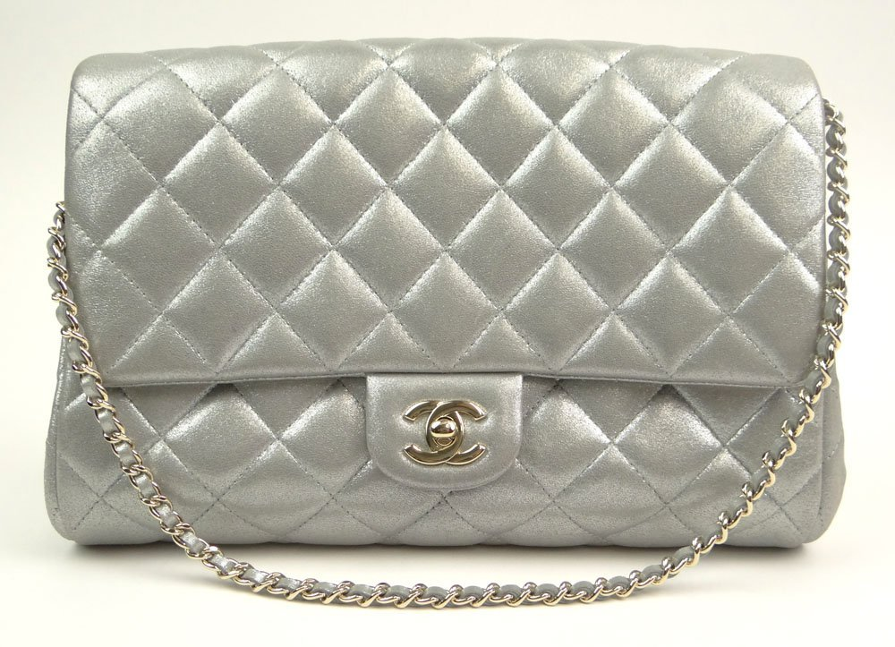 Almost New Chanel Quilted Silver Gray Flap Hand Bag