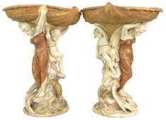 Large Pair of Bohemian Royal Dux Art Nouveau Porcelain