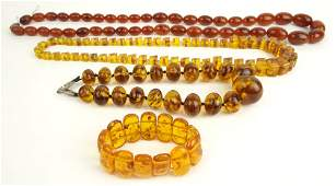 Collection of Three (3) Vintage Russian Amber Bead