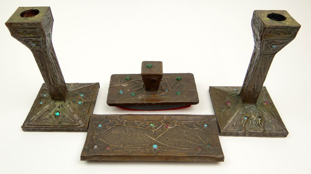 Four (4) Piece Art Nouveau Chased and Hammered Copper