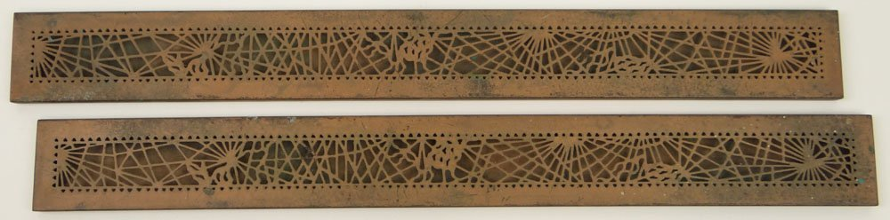 Pair of Tiffany Studios Pine Cone Pattern Blotter Ends.