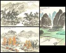 Three (3) 20th Century Chinese School Watercolor, Ink