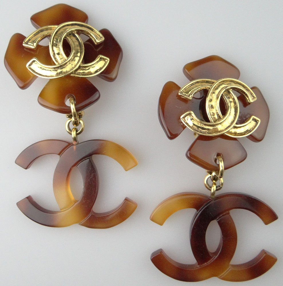 Pair of Chanel Paris France Costume Jewelry Drop