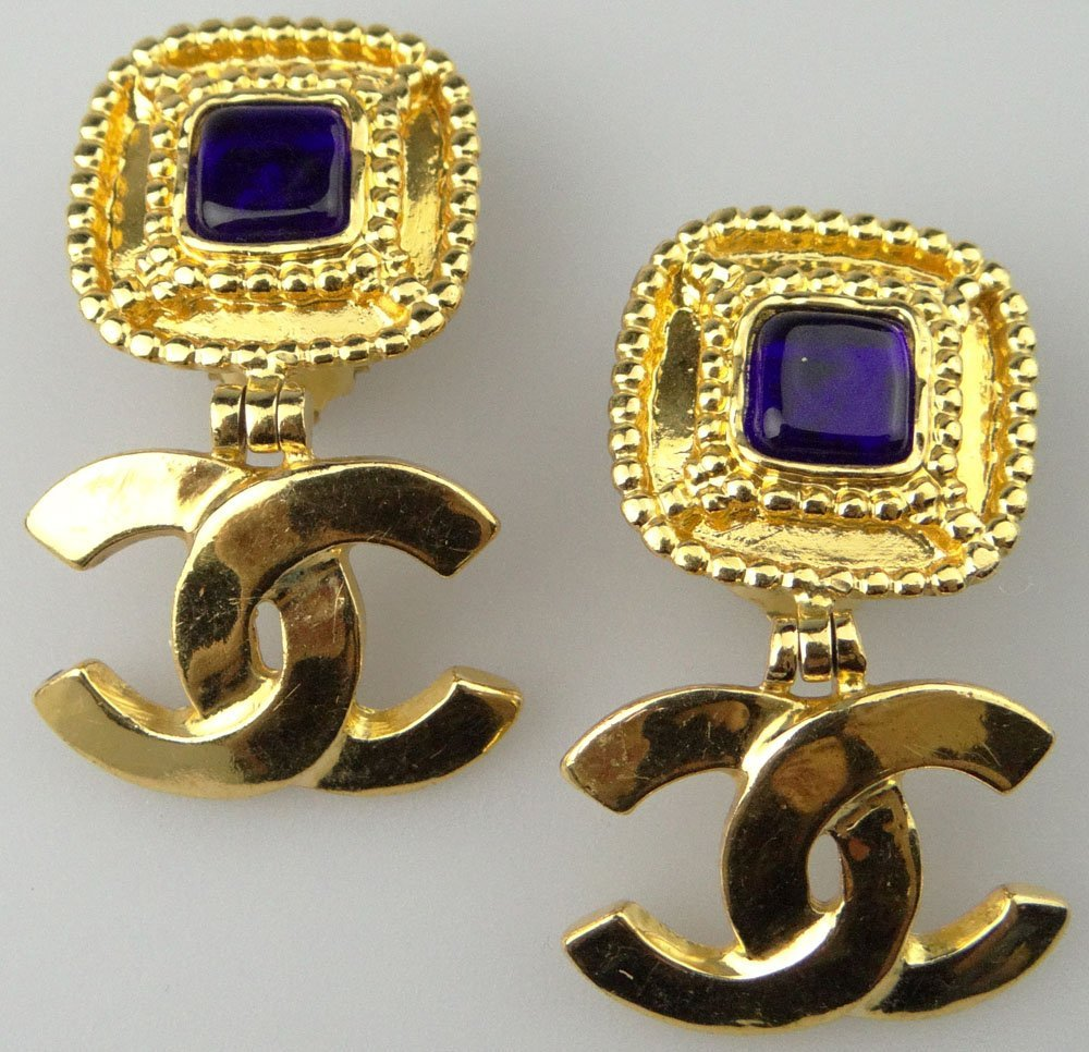 Pair of Chanel Paris France Costume Jewelry Goldtone