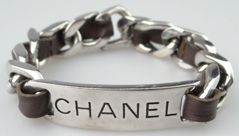 Chanel Paris France Faux Sterling Silver and Leather