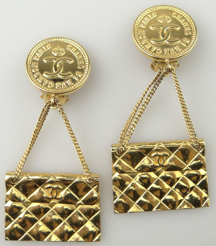Pair of Chanel Paris France Goldtone Costume Jewelry