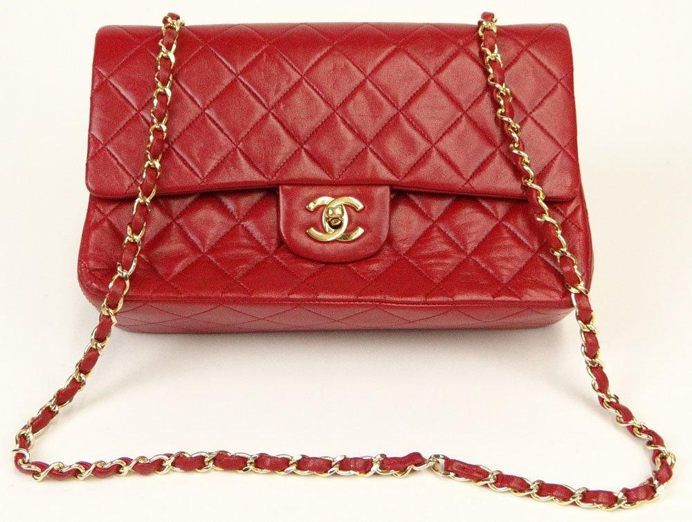 Vintage Chanel Quilted Leather Shoulder Bag with Gold