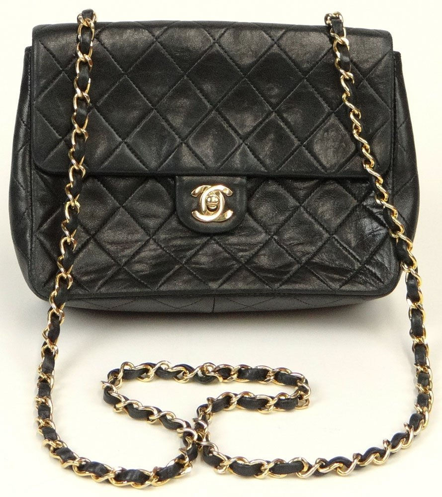 Chanel Black Quilted Leather Hand Bag. Signed Chanel,