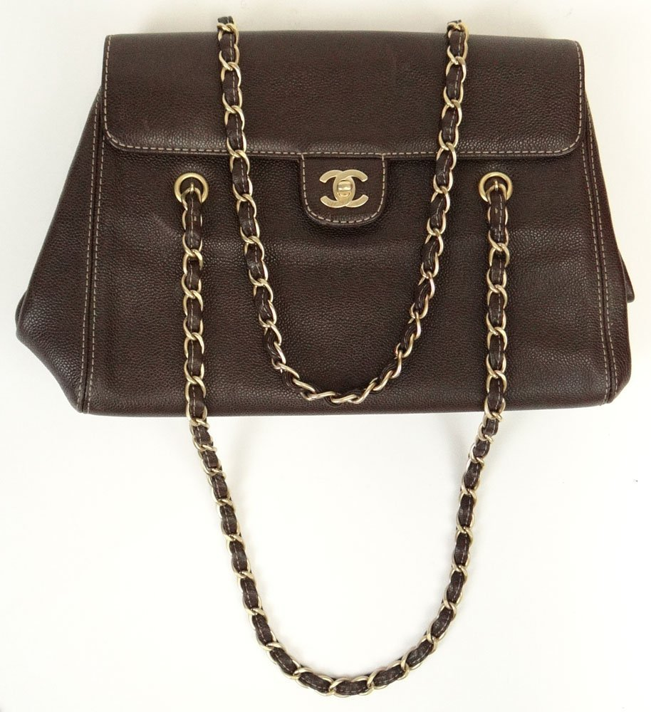 Chanel Brown Leather Hand Bag. Signed Chanel, Italy.