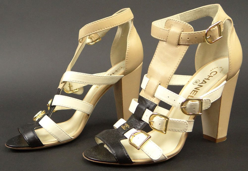 Pair of Chanel Beige and Black Leather High Heeled