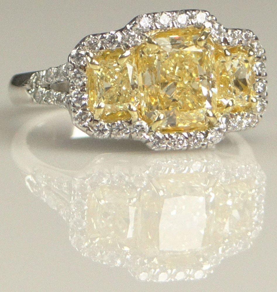 EGL Certified Three (3) Stone Fancy Intense Yellow Diam