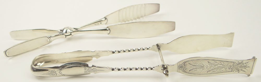 Two (2) Asparagus Tongs, One (1) Sterling Silver