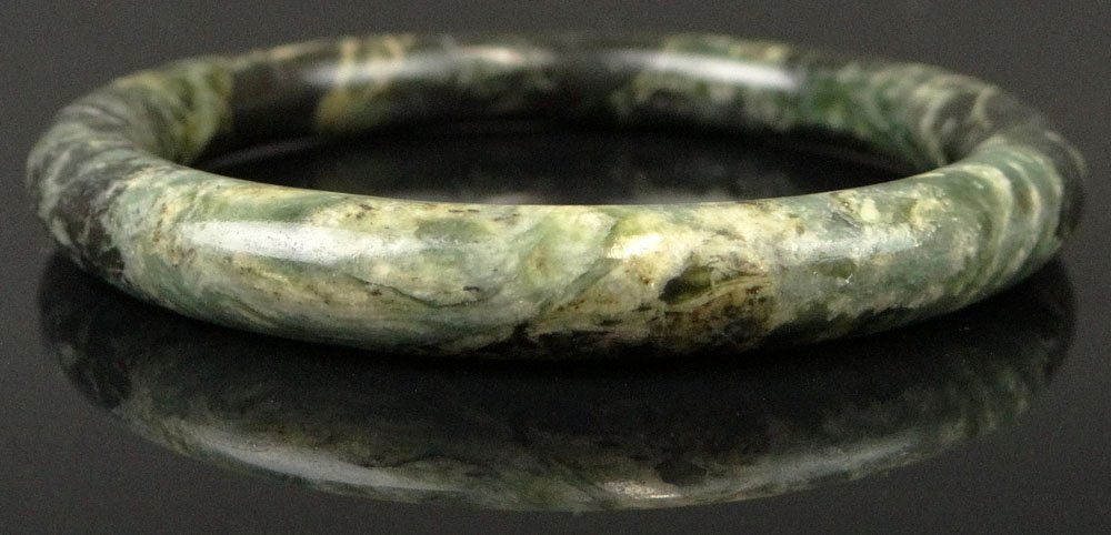 Chinese Dark Forest Green Jade Bangle. Unsigned. Good